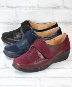 Deana - Ladies Pattern Touch Fastening Shoes