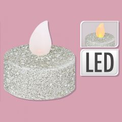 Silver Glitter Candle - Set of 6