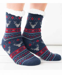 Mens Fairisle Lounge Socks with Grippers