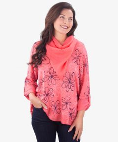 Ladies Batwing Sleeve Top & Scarf