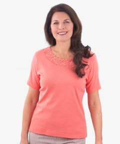 Ladies Round Neck Lace T-Shirt