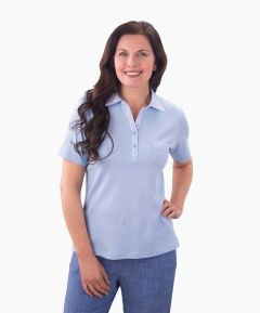Ladies Floral Collar Polo Shirt