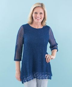 Ladies' Knitted Tunic with Lace Trim